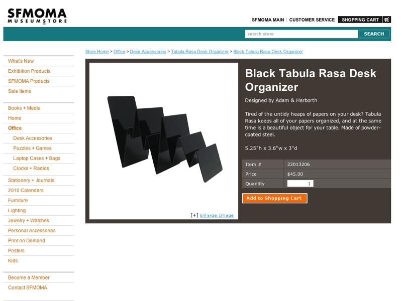 Black Tabula Rasa Desk Organizer