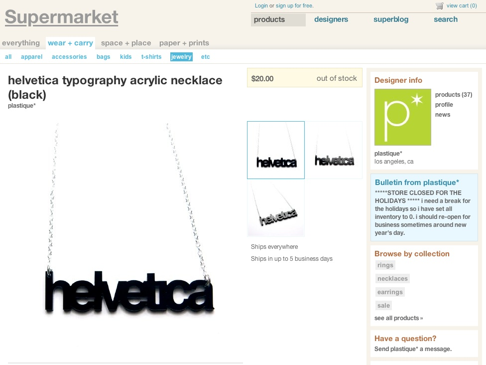 Helvetica Typography Acrylic Necklace