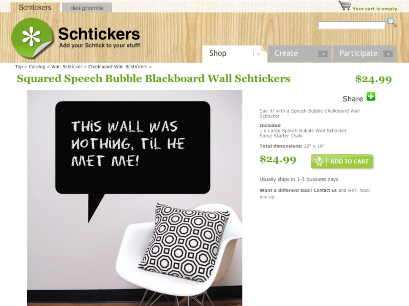 Squared Speech Bubble Blackboard Wall Schtickers