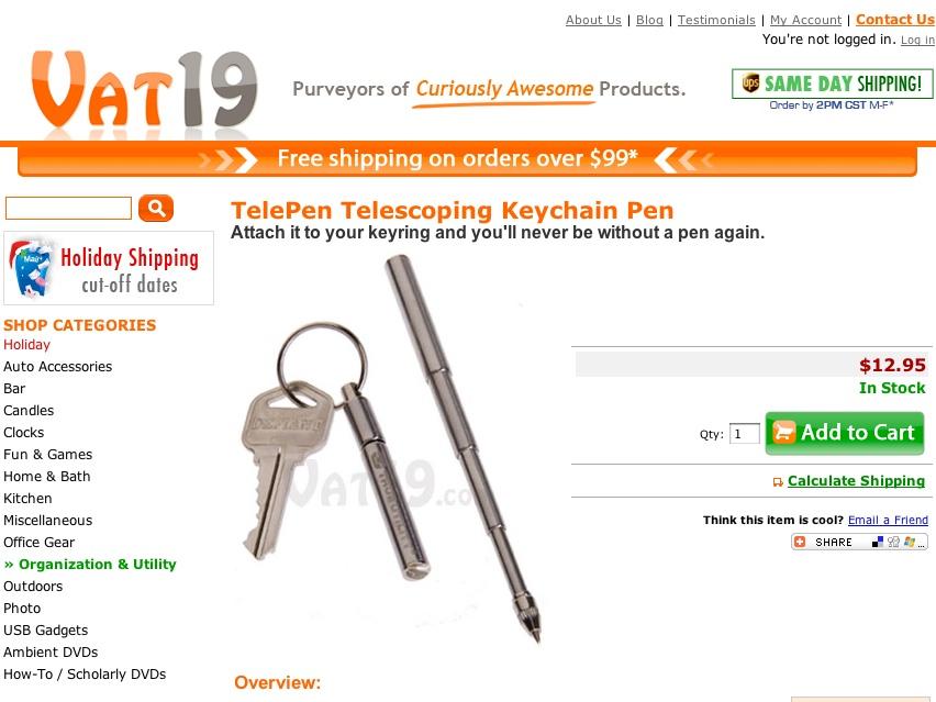 TelePen Telescoping Keychain Pen